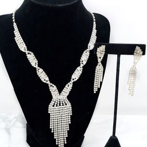 Rhinestone Cascade Formal Necklace Set